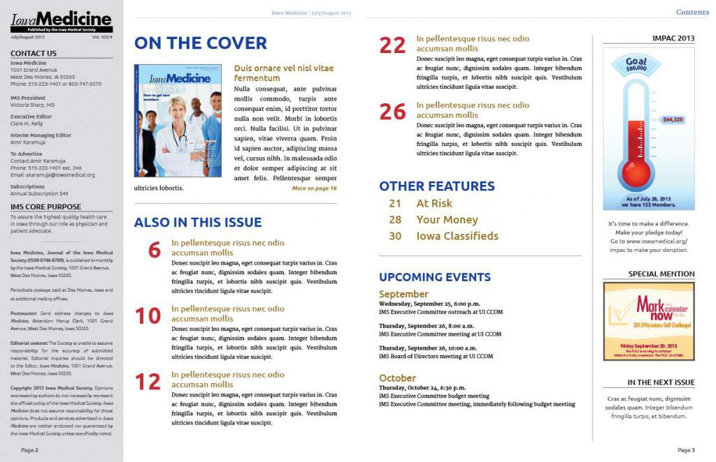 New Iowa Medicine Table of contents