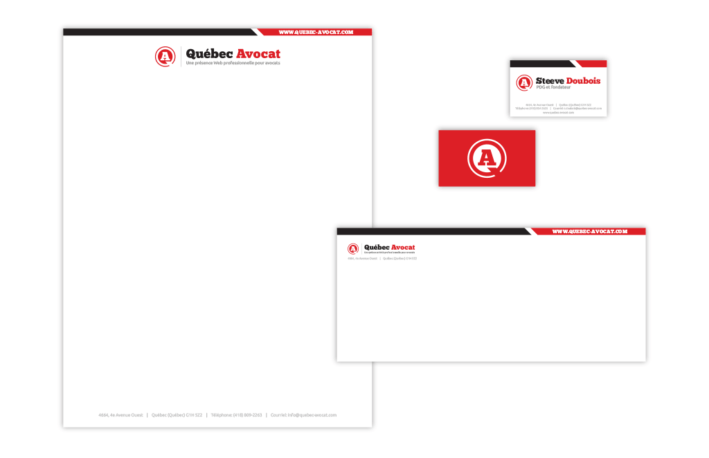Québec-Avocat.com Identity Package – Letterhead, Envelope & Business card